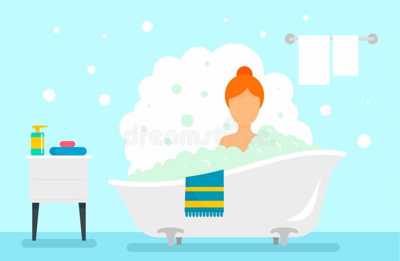 Frauennehmenbad-Konzepthintergrund, flache Art stock abbildung