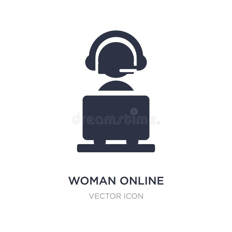 Frauenon-line-Ikone auf weißem Hintergrund Einfache Elementillustration vom Cyberkonzept lizenzfreie abbildung