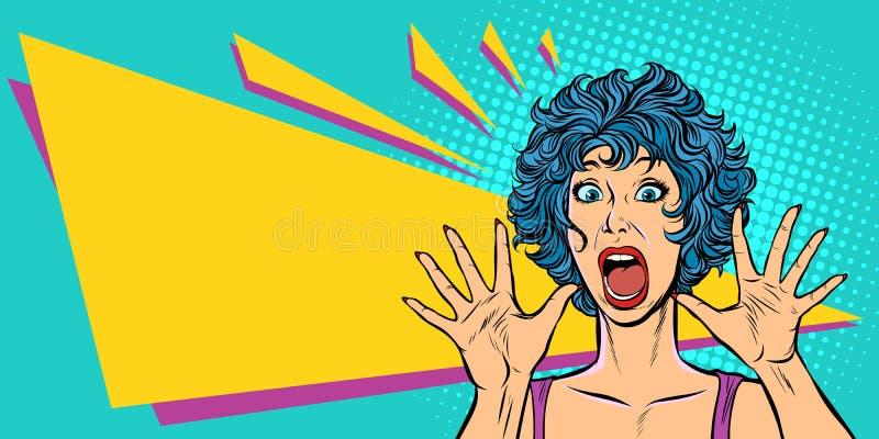 Frauenpanik, Furcht, Überraschungsgeste Mädchen 80s lizenzfreie abbildung