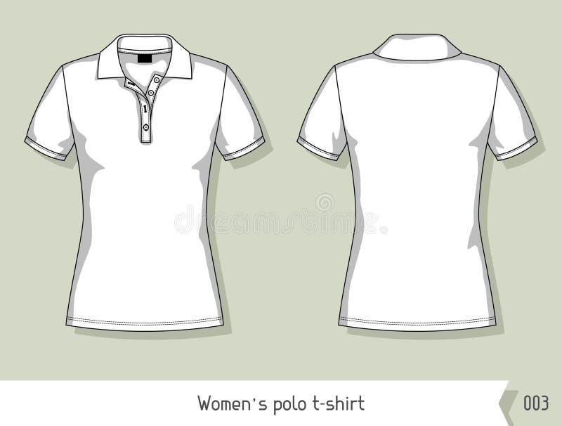 Frauenpolot-shirt Schablone für Design, leicht editable durch Schichten lizenzfreie abbildung