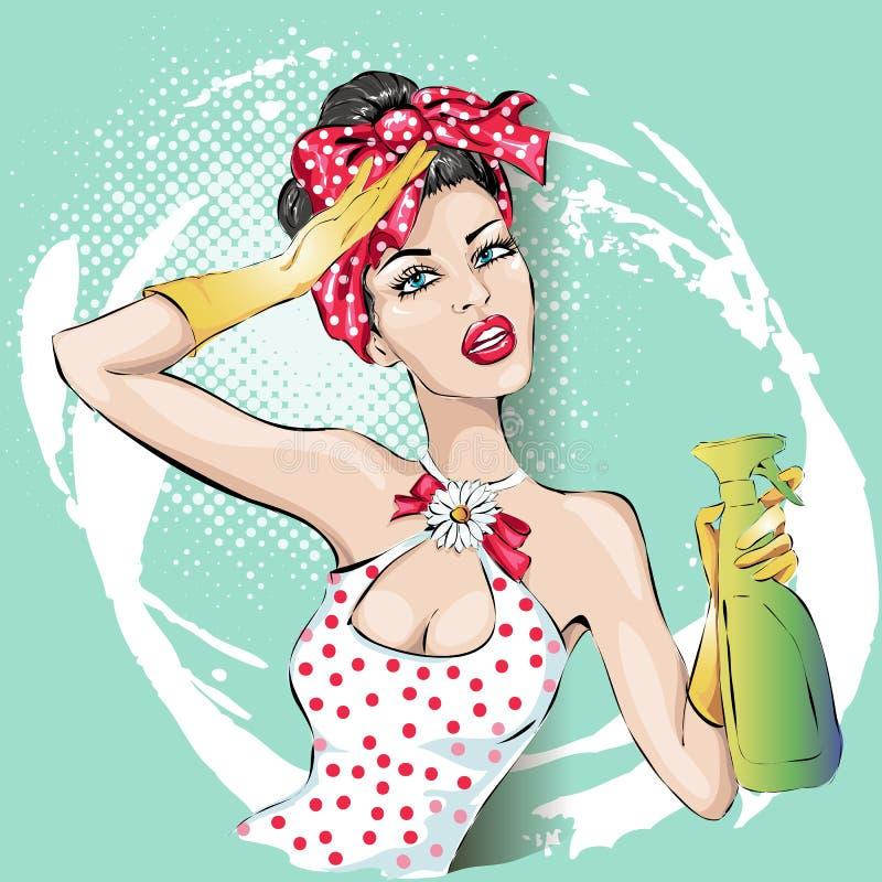 Frauenporträt der Hausfrau Pin-oben mit Wischer Haushaltung, sexy Frau lizenzfreie abbildung