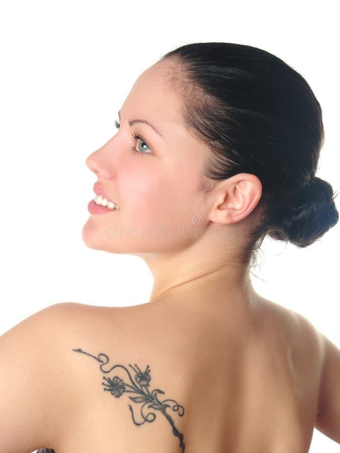 Frauenportrait getrennt auf einem Weiß stockfoto