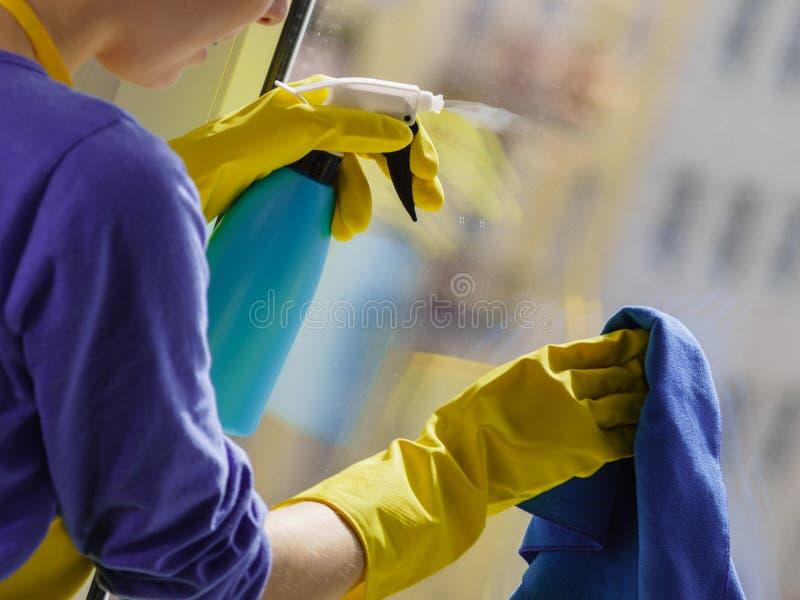 Frauenreinigungsfenster zu Hause lizenzfreie stockfotografie