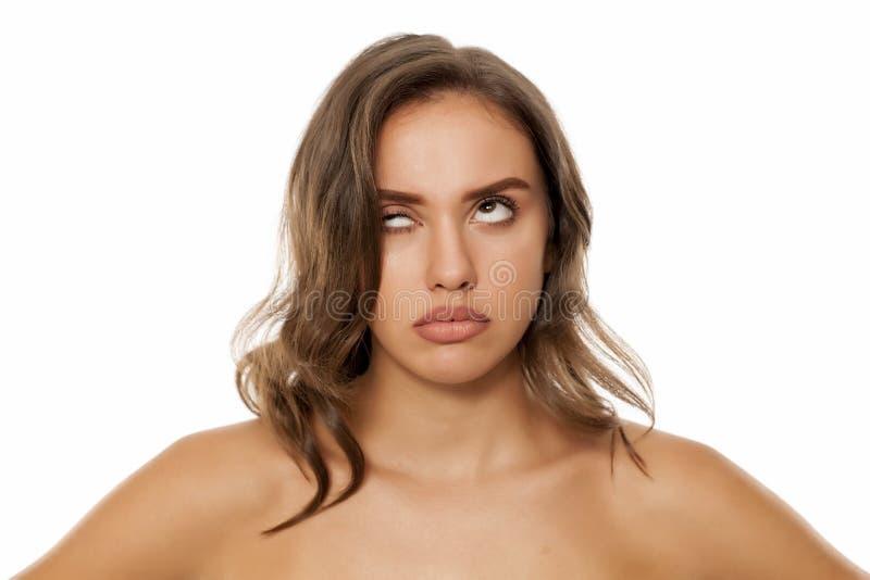 Frauenrollen ihrer Augen lizenzfreies stockbild