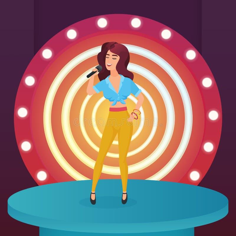 Frauensängerstern-Gesangpopsong mit dem Mikrofon, das auf modernem Stadium des Kreises mit Lampenvektorillustration steht lizenzfreie abbildung