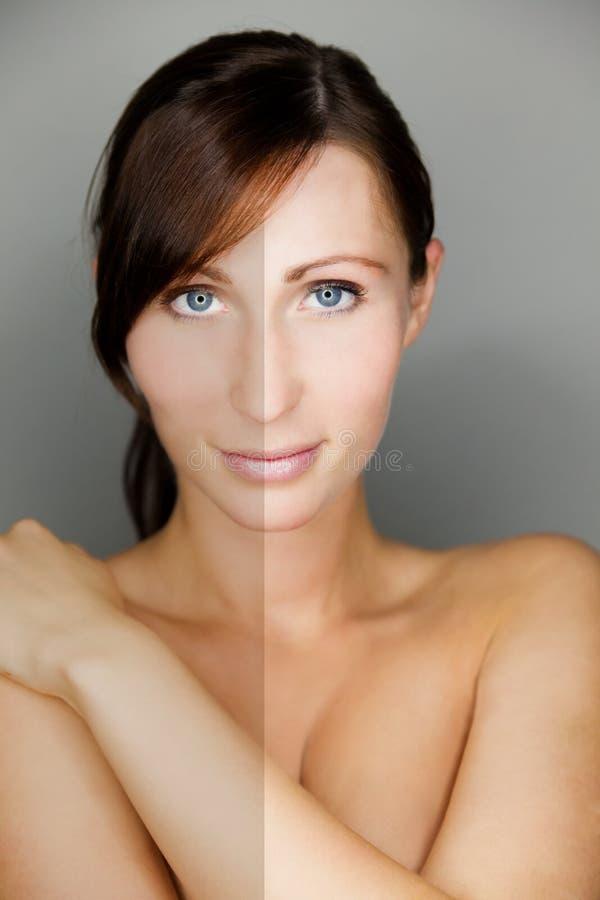 Frauenschönheitshaut vergleichen stockfotos