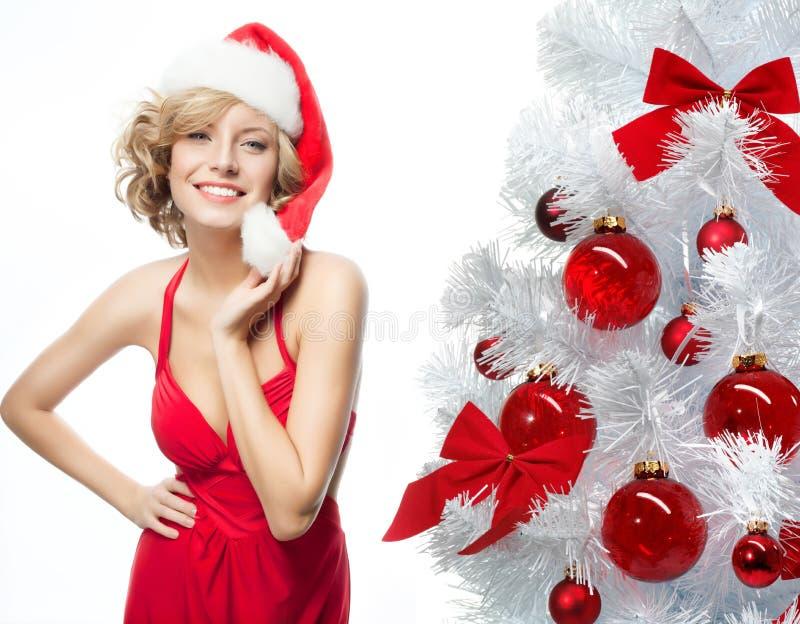 Frauenschönheitsweihnachten stockfotos