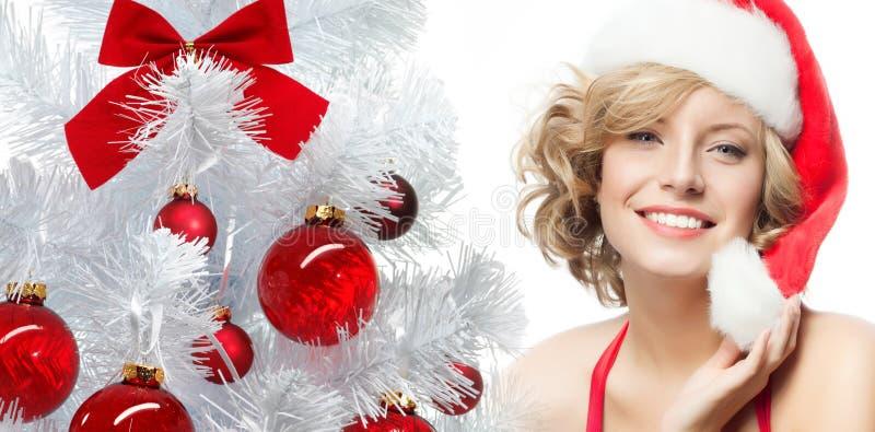 Frauenschönheitsweihnachten lizenzfreies stockfoto