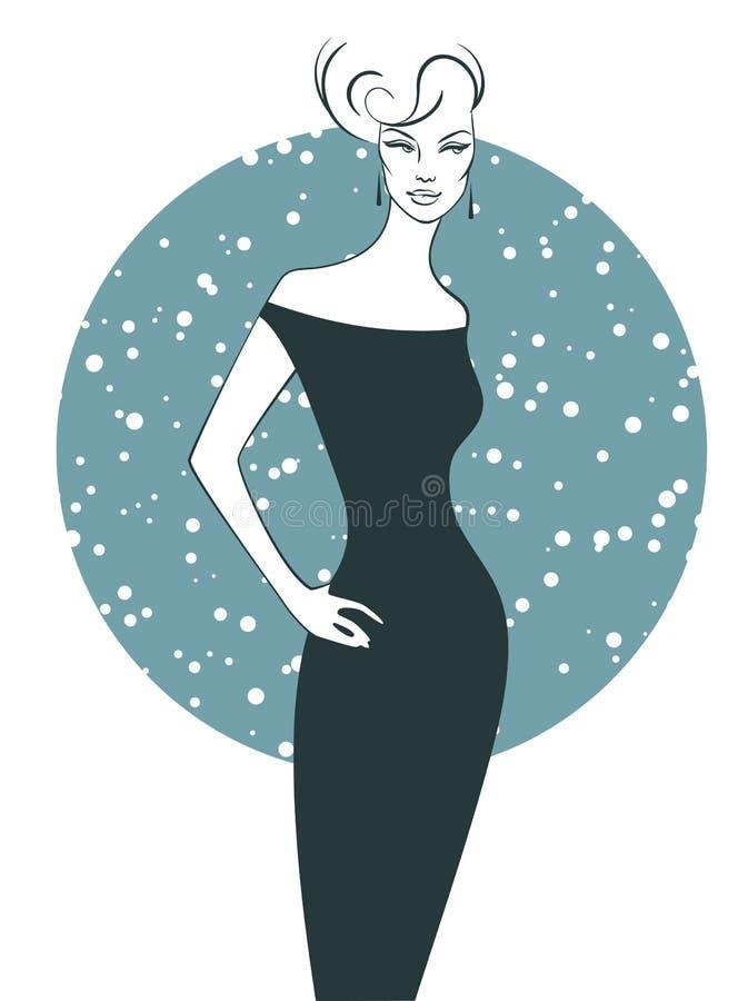 Frauenschattenbild im Kleid vektor abbildung