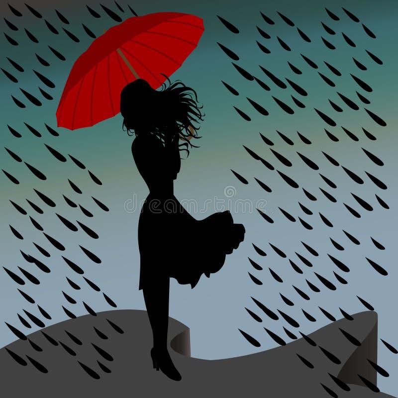Frauenschattenbild im Regen mit einem Regenschirm lizenzfreies stockfoto