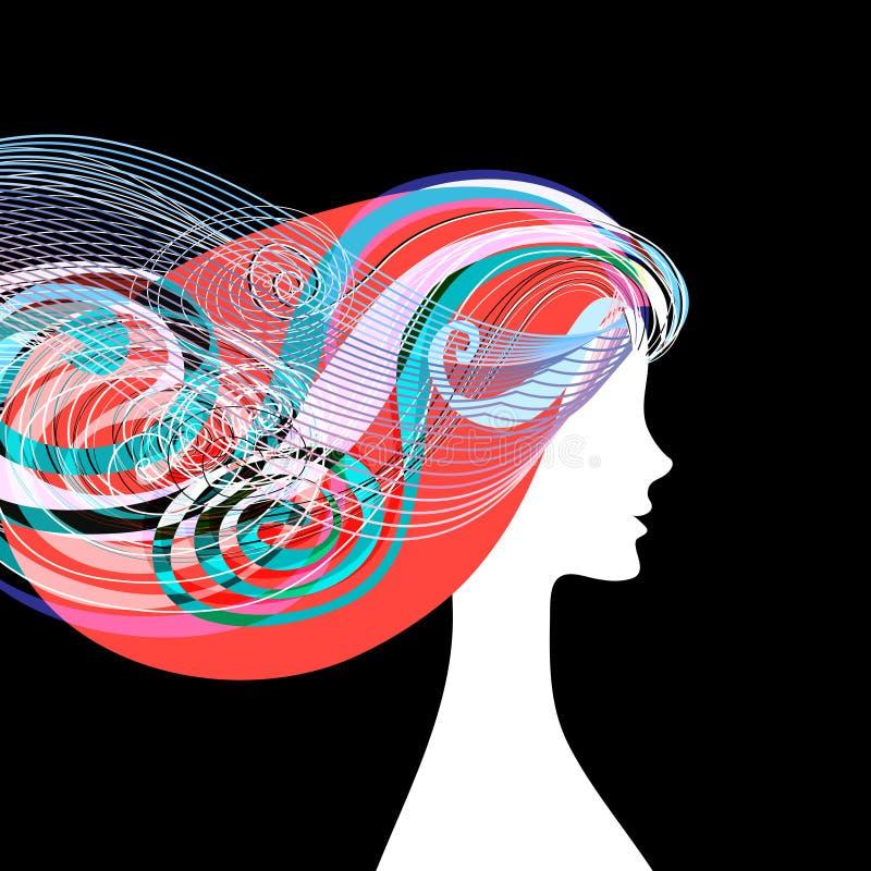 Frauenschattenbild mit dem gelockten Haar stock abbildung
