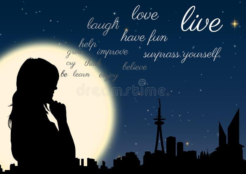 Frauenschattenbild nachts vor dem Mond mit den Wörtern, die von ihr aufkommen stock abbildung