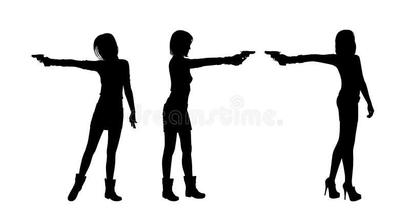 Frauenschießen mit einem Gewehr silhouettiert Satz vektor abbildung