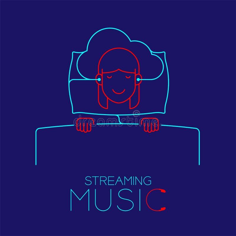 Frauenschlaf mit Kopfhörerwolke schließt, die Kissenform an, die vom Kabel gemacht wird und strömt Musikkonzeptdesignillustration stock abbildung