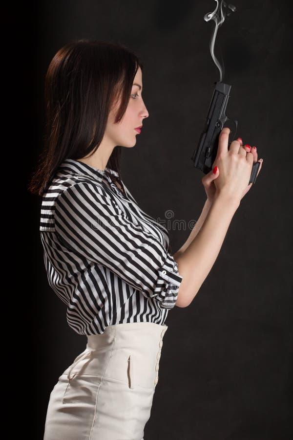 Frauenschlagender beweis stockbilder