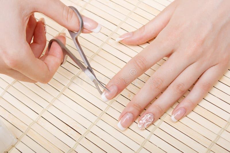 Frauenschnittnagelscheren stockbild
