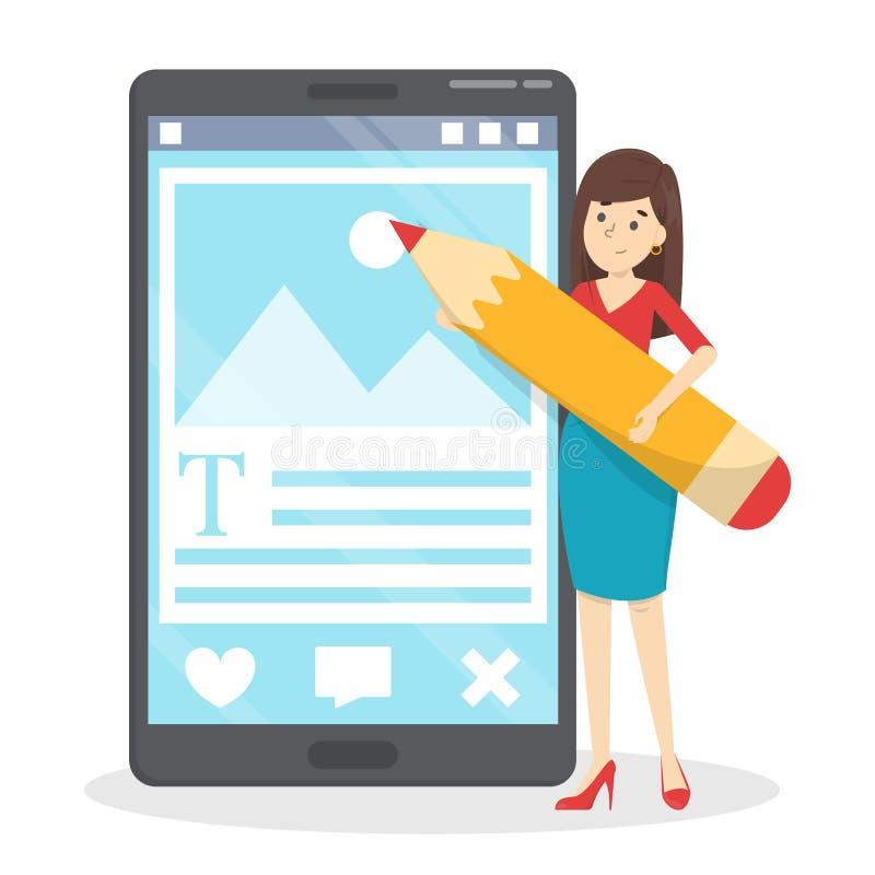 Frauenschreibensposten für ihr Blog im Internet vektor abbildung