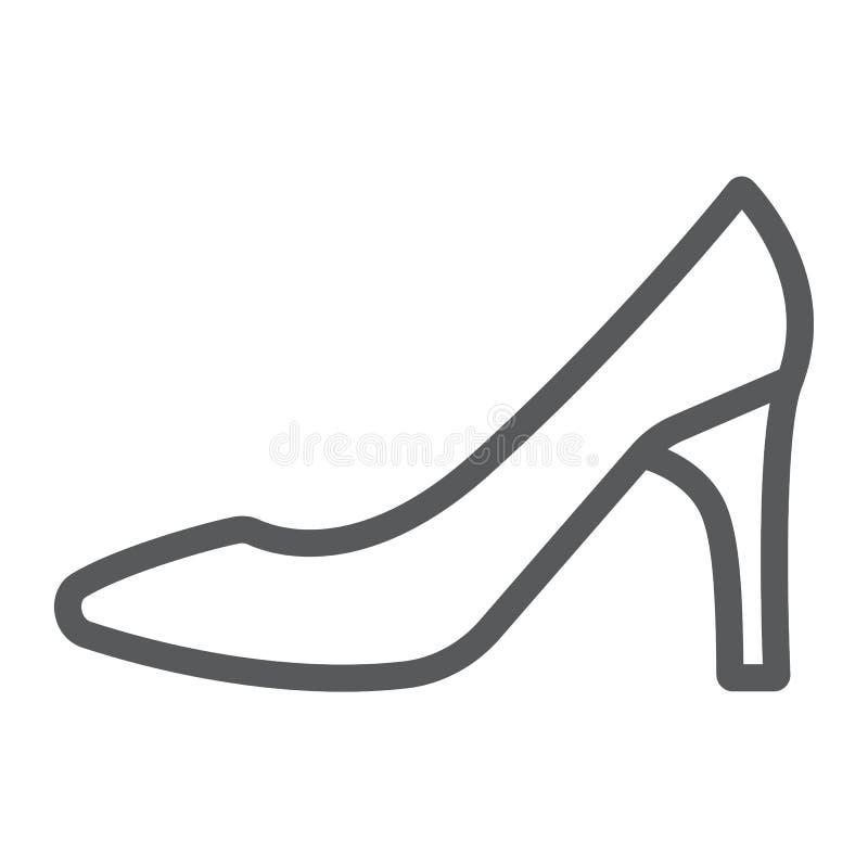 Frauenschuhe zeichnen Ikone, Frau und Fußbekleidung, Zeichen des hohen Absatzes, Vektorgrafik, ein lineares Muster auf einem weiß stock abbildung