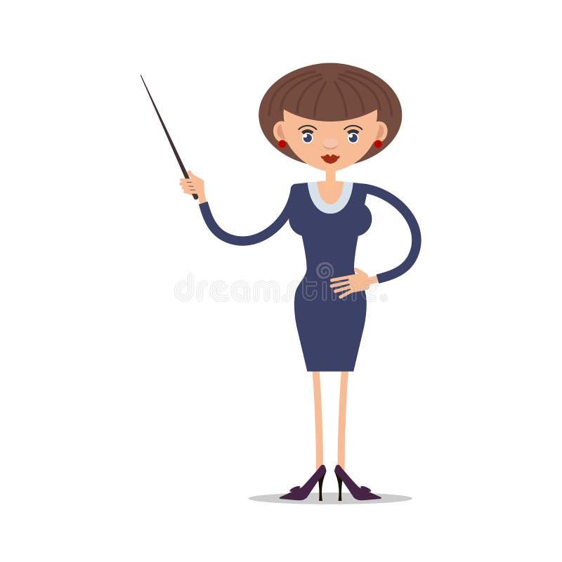 Frauenschullehrer mit einem Zeiger in den Stöckelschuhen lizenzfreie abbildung