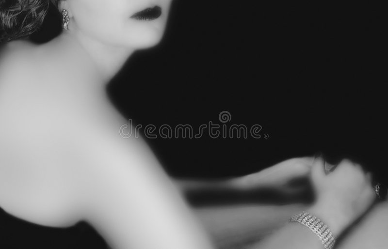Frauenschwarzweiss-Film noir Blick stockbilder