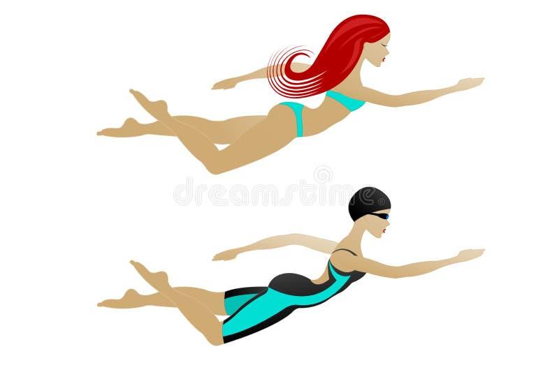 Frauenschwimmen stockfotografie