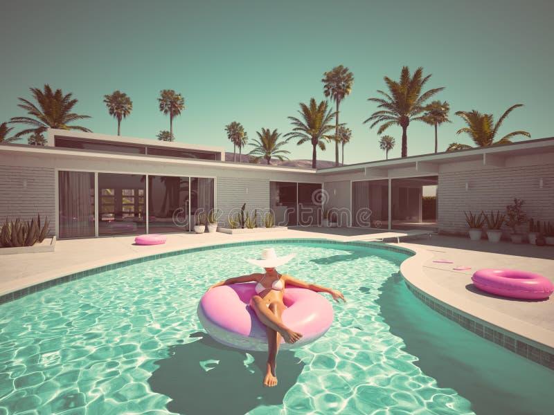 Frauenschwimmen auf Floss in einem Pool Wiedergabe 3d vektor abbildung