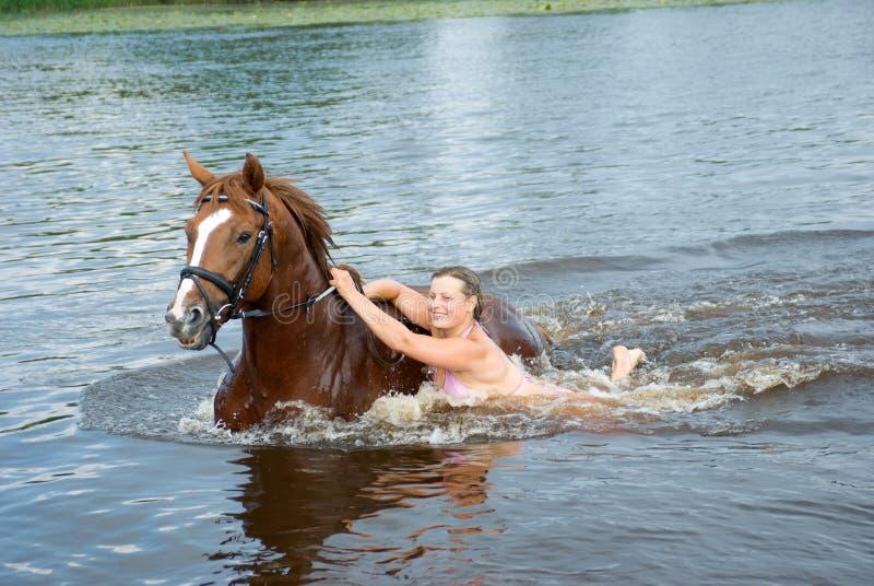 Frauenschwimmen winth Stallion im Fluss stockfoto