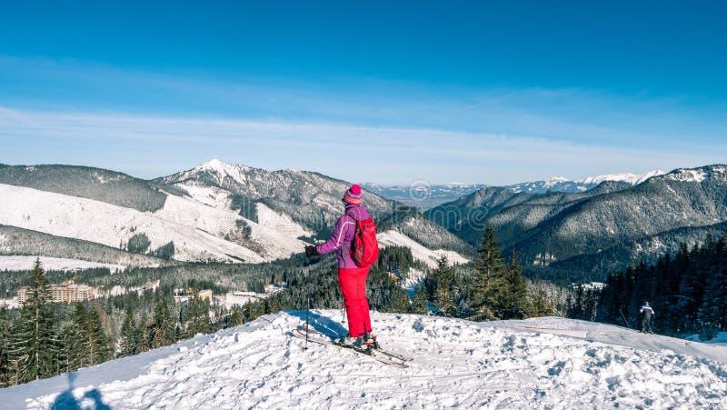 Frauenskifahrer, der die beste Bahn findet Skifahrer, der unten zum Tal schaut Warterechter Moment Beste Wahl Chopok, niedriges T stockbilder