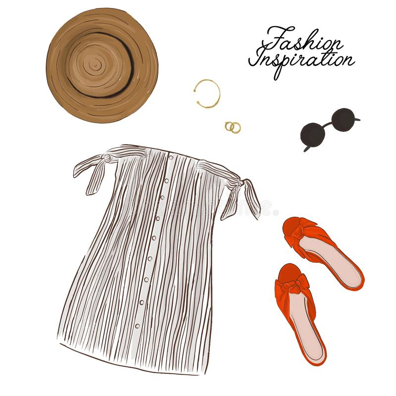 Frauensommeraussicht: Kleid mit Bogen-, Hut-, Schuh- und Zusatzdekoration Moderner Stoffentwurf Hand gezeichnete Vektorskizze vektor abbildung