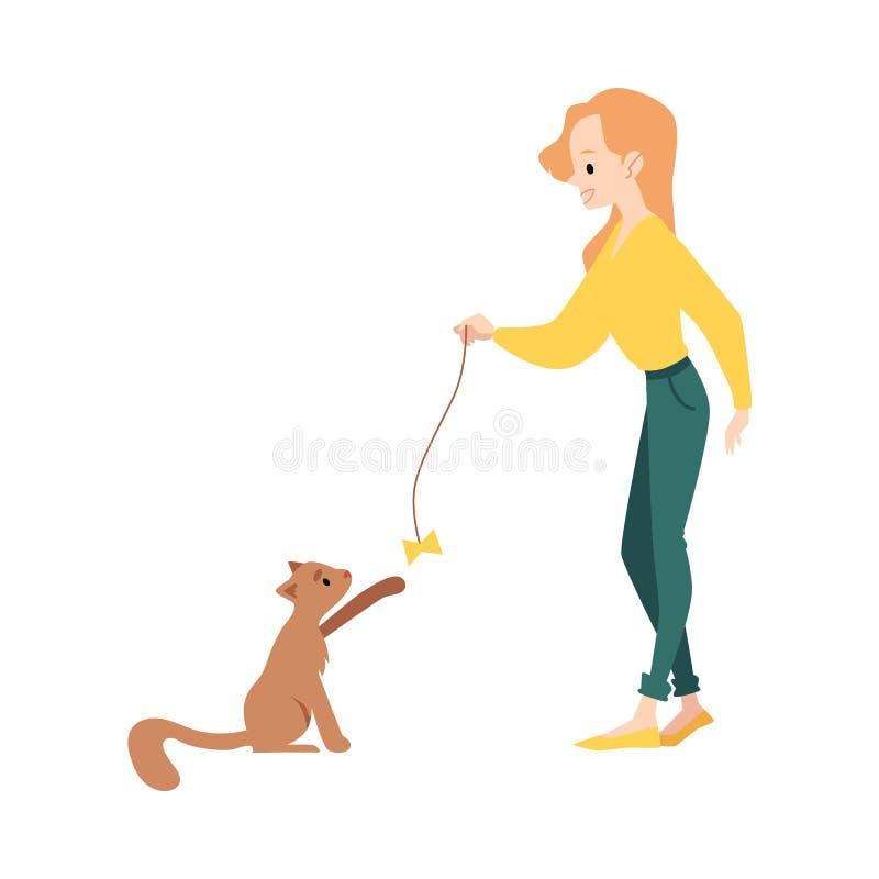 Frauenstände, die mit Katze durch Spielzeug-Karikaturart der harten Nuss spielen vektor abbildung