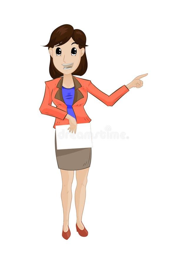 Frauenstand und Fingerpunkt lizenzfreie stockfotos