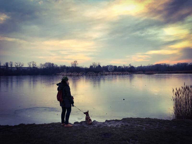 Frauenstellung mit ihrem Hund am Seeufer von einem gefrorenen See im Winter stockbild
