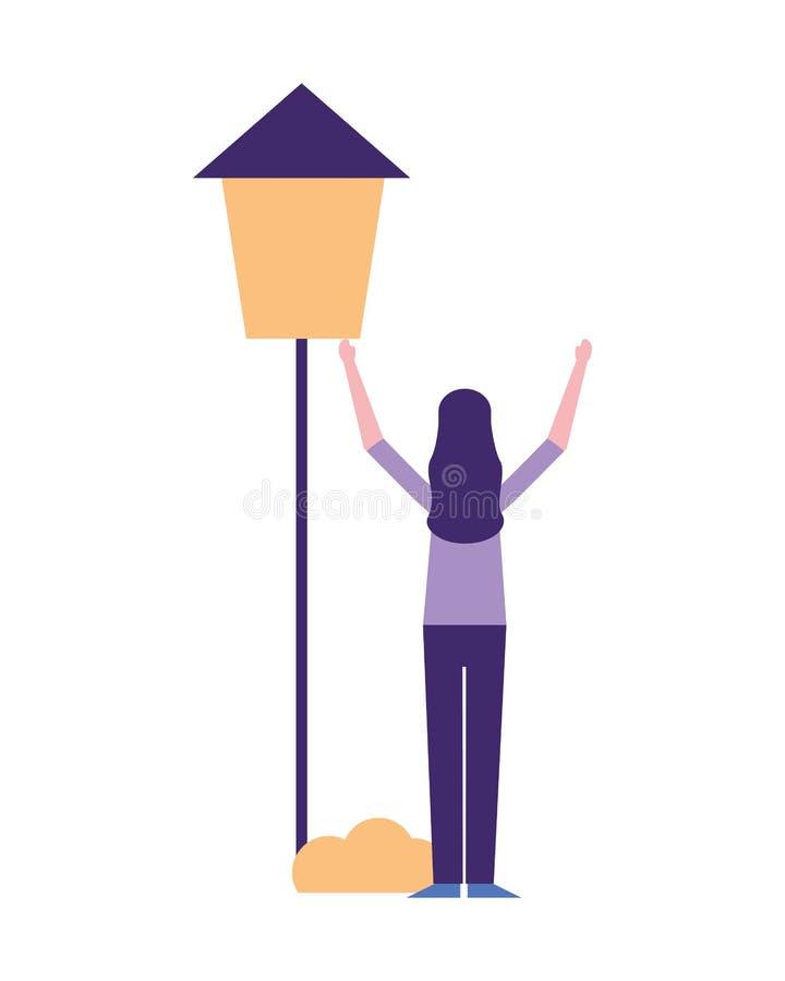 Frauenstellung mit Postenlampenbusch stock abbildung