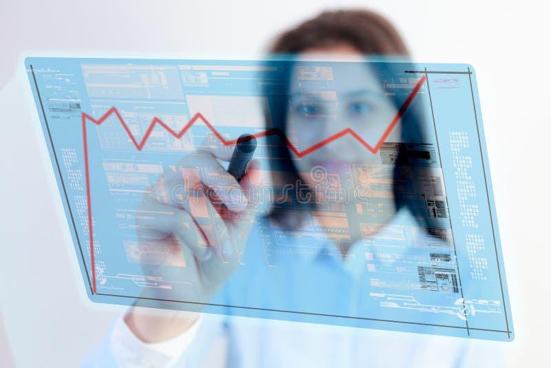 Frauenstiftnoten-Diagrammdaten lizenzfreies stockfoto