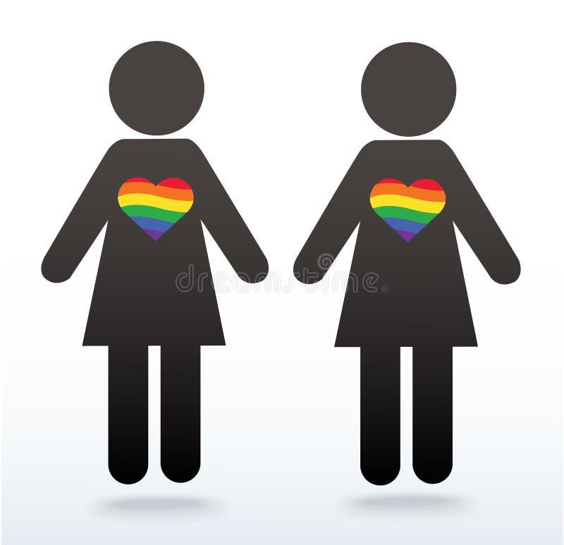 Frauensymbolikone mit einem Regenbogenherzen, LGBT-Symbol, Liebe ist Liebe, Regenbogenflagge in der Herzikone, Liebesgewinne lizenzfreie abbildung