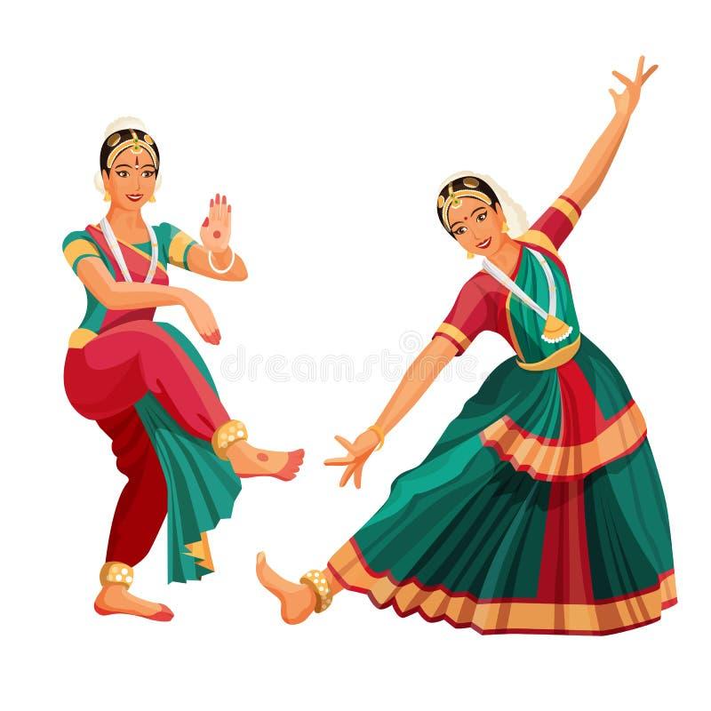 Frauentänzer im nationalen indischen Stoff, der Volkstanz Bharatanatyam tanzt stock abbildung