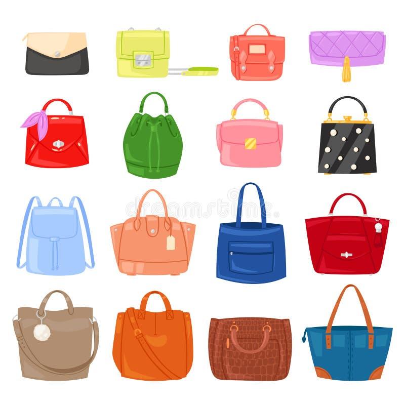 Frauentaschen-Vektormädchen Handtasche oder Geldbeutel und Einkaufstasche oder Kupplung vom sackartigen Satz der Modespeicher-Ill stock abbildung