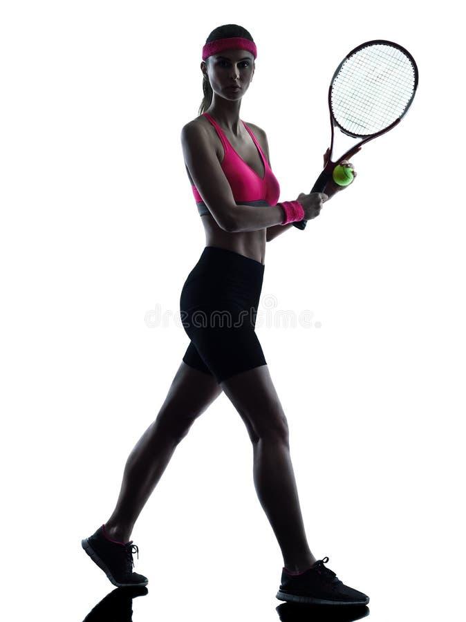 Frauentennisspielerschattenbild stockbild