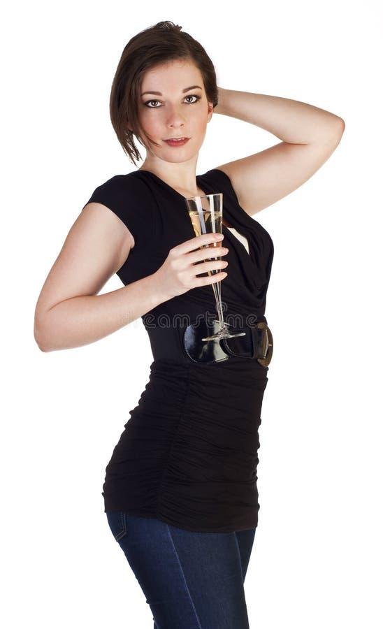 Frauentoast mit Champagner stockfotos
