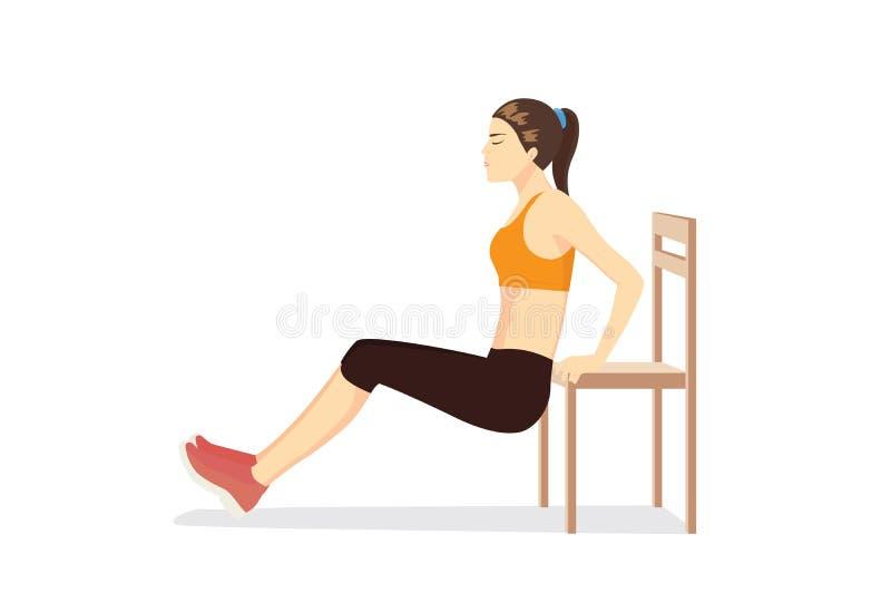 Frauentraining mit Stuhl für das Körperfest machen lizenzfreie abbildung