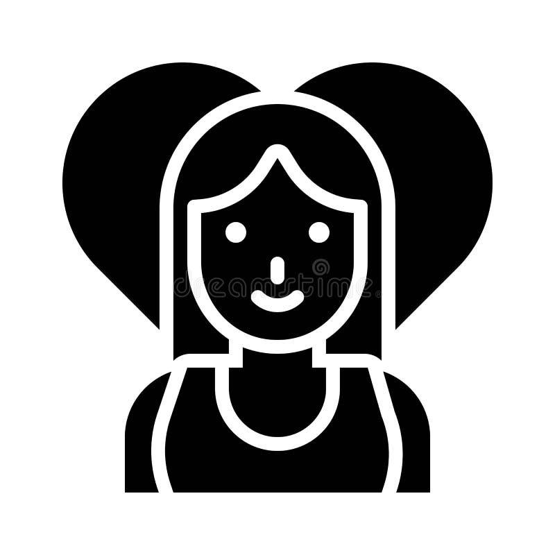 Frauenvektor, -Valentinsgruß und -liebe bezogen sich feste Ikone lizenzfreie abbildung