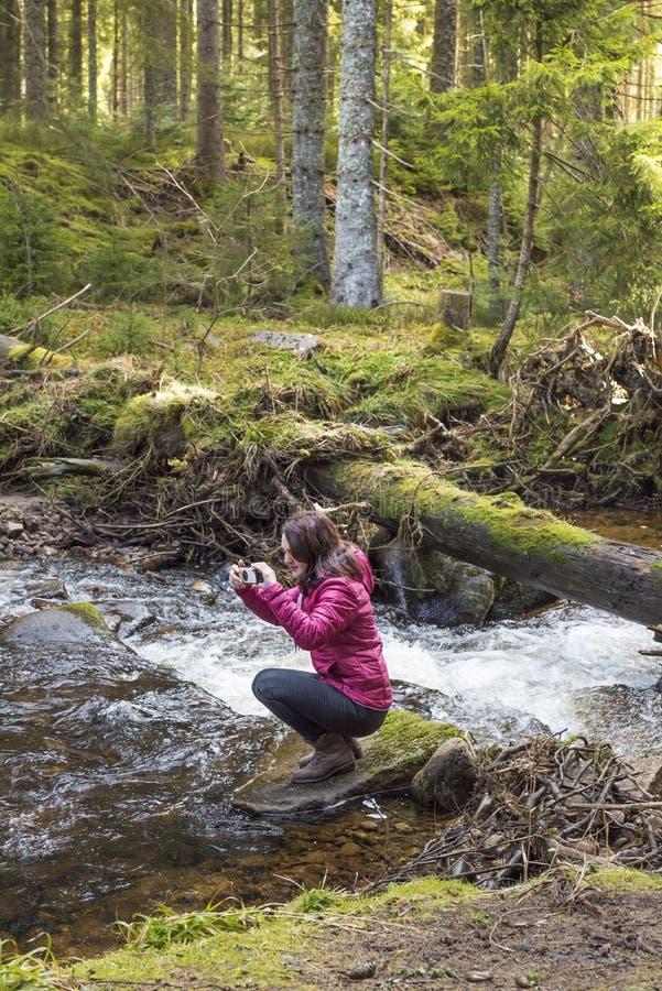 Frauenwanderer, der Fotos macht stockfotos