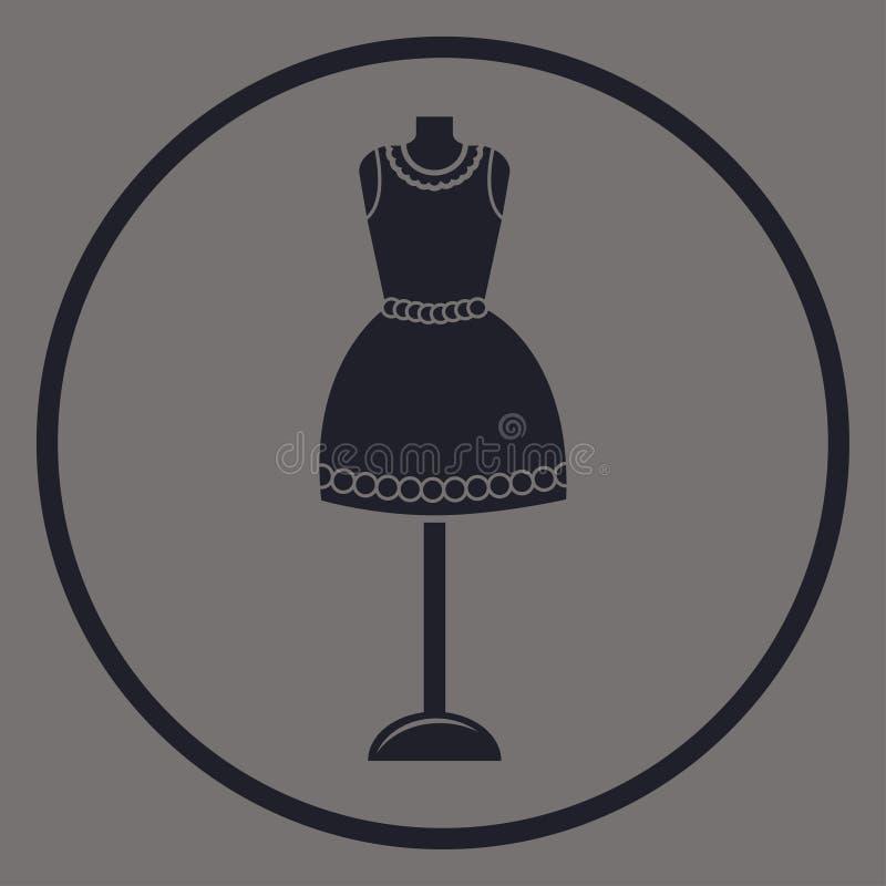 Frauenweinlesekleid auf dem Mannequinlogo lizenzfreies stockbild