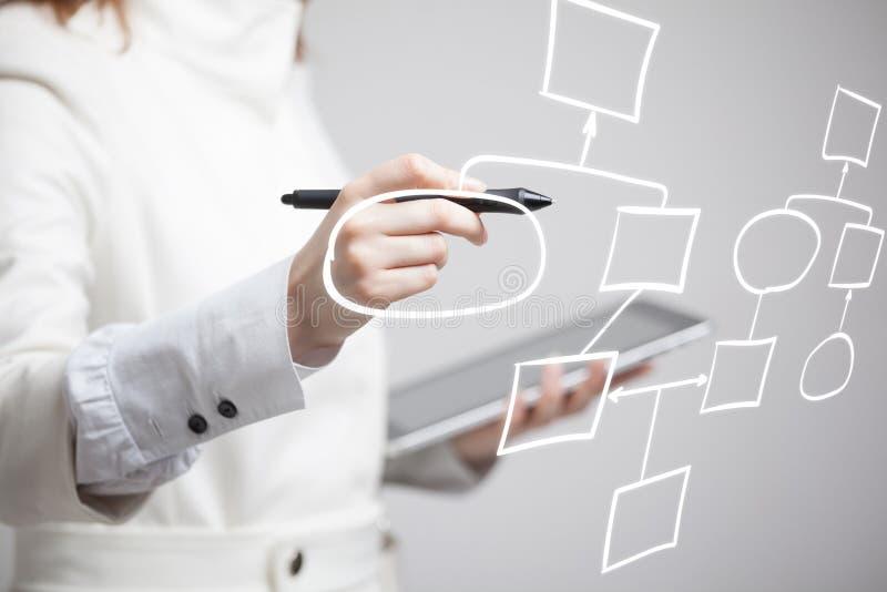 Frauenzeichnungsflussdiagramm, Geschäftsprozesskonzept lizenzfreies stockfoto