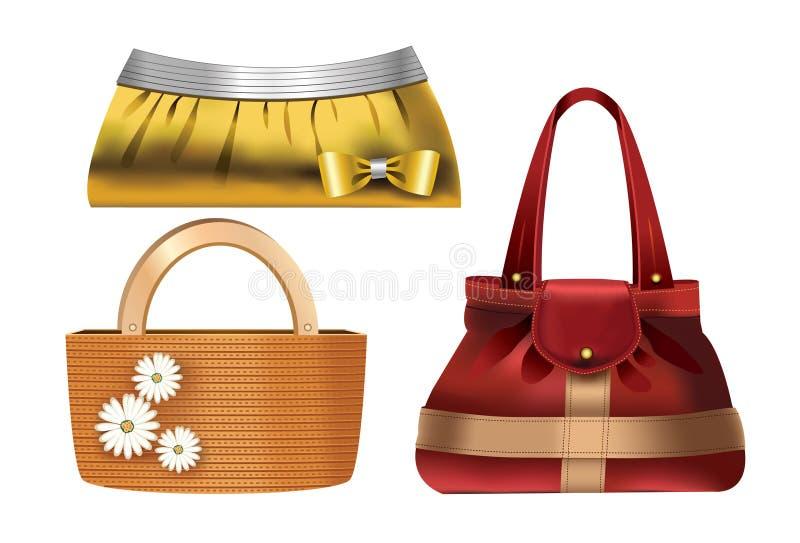 Frauenzubehör â 3 Entwerferhandtaschen lizenzfreie abbildung