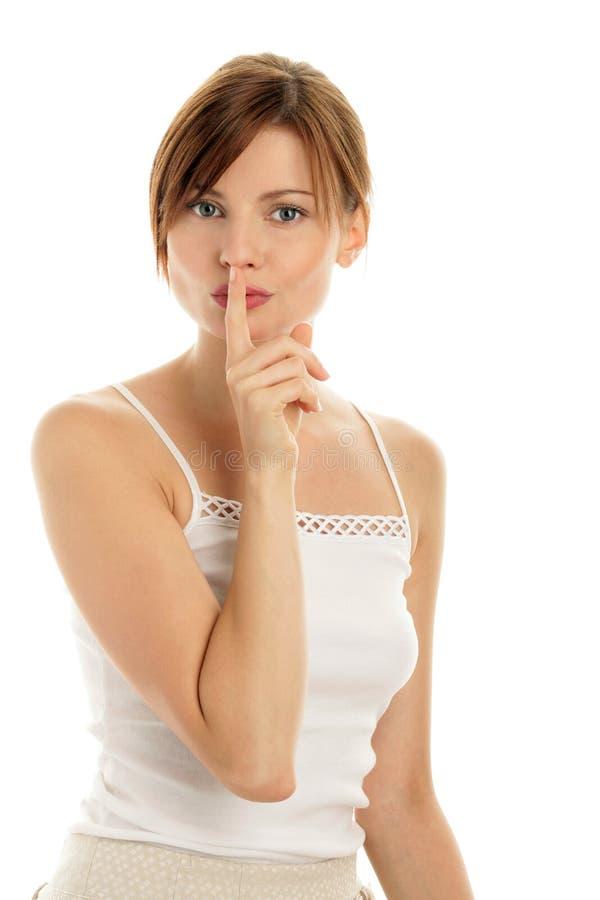 Frauenzum schweigen bringen stockfotografie