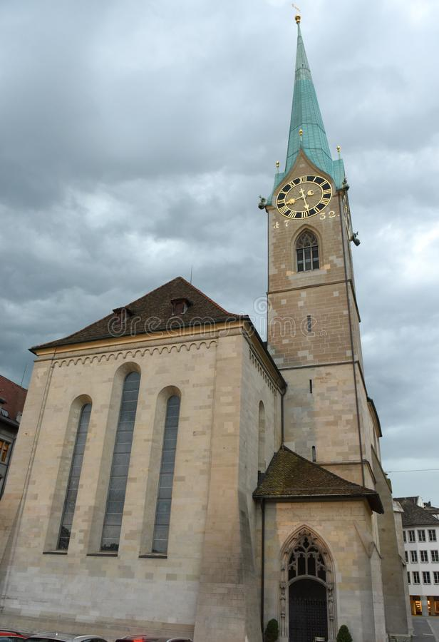 Fraumunster Church at evening time in Zurich, Switzerland royalty free stock photo