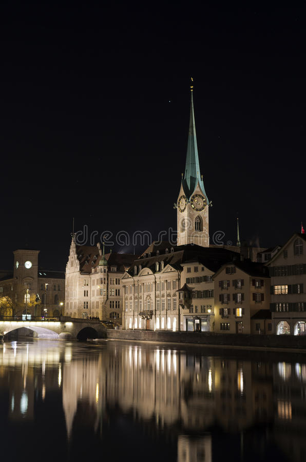 Fraumunster church, Zurich at night royalty free stock photos