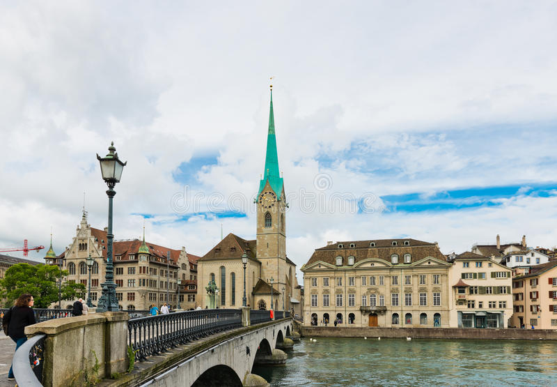 Fraumunster tower in Zurich. Fraumunster Church, from XIII century, dominate the old town of Zurich. Switzerland royalty free stock images