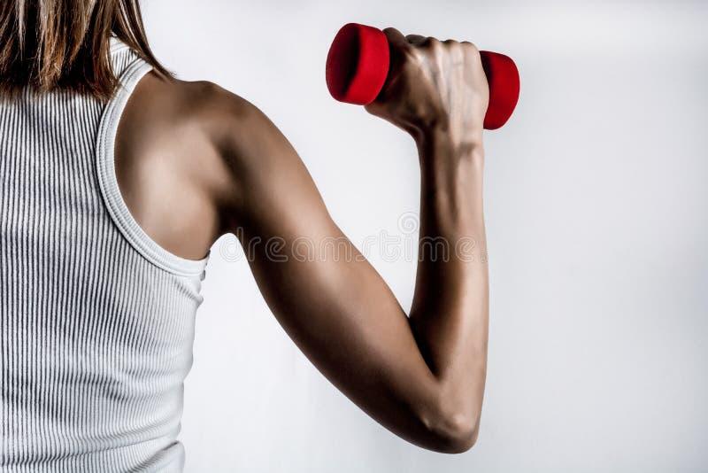 Fraurückseite und Muskelhand mit Dummkopf im T-Shirt im grauen Studiohintergrund stockbild